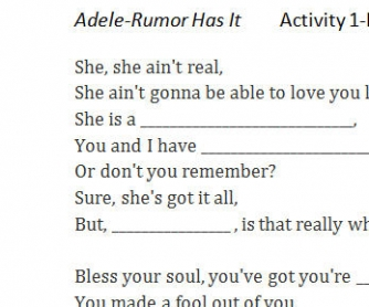 Song Worksheet: Rumor Has It by Adele
