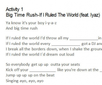 Song Worksheet: If I Ruled The World by Big Time Rush