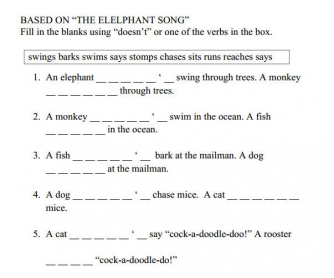 The Elephant Song [Present Simple Positive and Negative Practice]