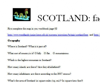 Scotland Webquest