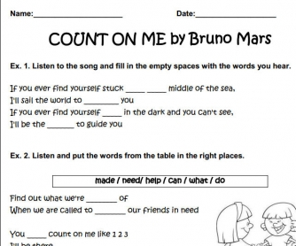 Song Worksheet: Count On Me by Bruno Mars