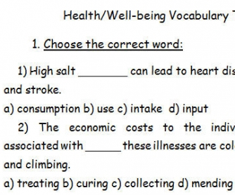 Health Vocabulary Test