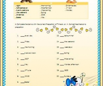 Prepositions of Time (at,in,on) Elementary Worksheet II