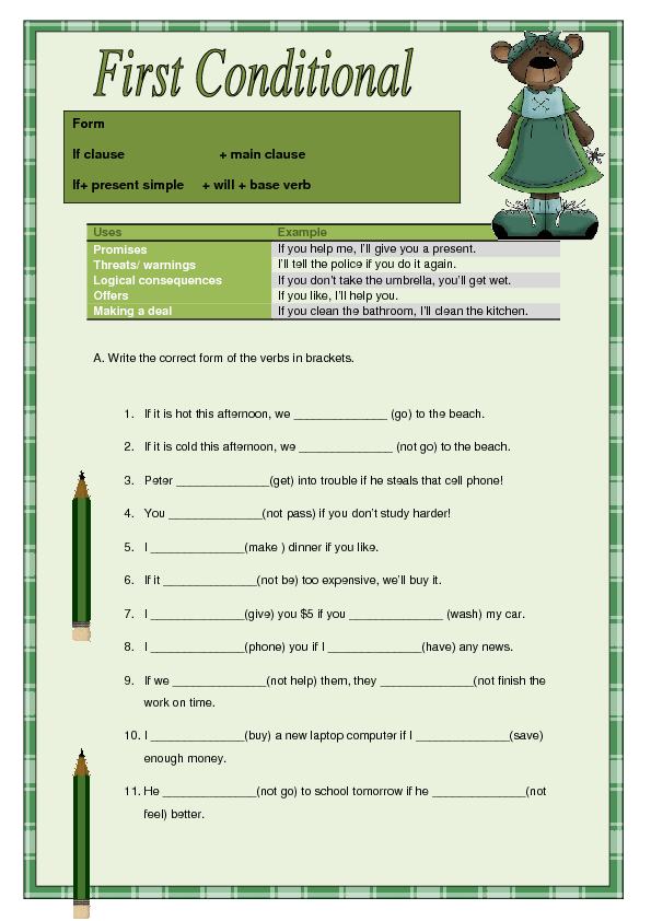 english the first conditional worksheet Download as a pdf (best for printing) this is a free worksheet you can use in your class you are free to photocopy and distribute these materials.
