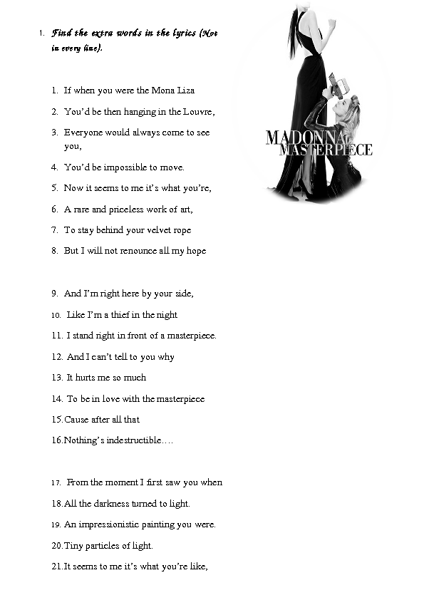 Worksheet: Masterpiece by Madonna [Alternative]