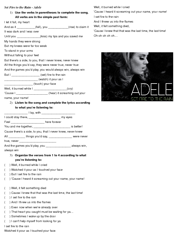 Lyric rain song lyrics : Past Song Worksheet: Set Fire to the Rain by Adele