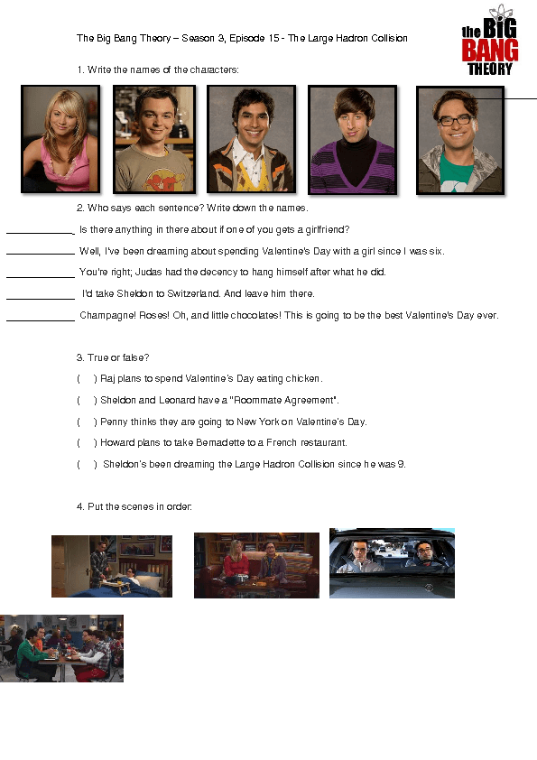 Movie Worksheet The Big Bang Theory The Large Hadron