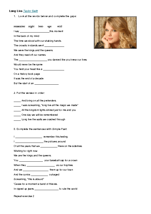 Song Worksheet Long Live By Taylor Swift