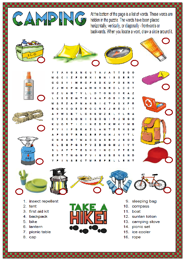 This is a wordsearch puzzle for teaching or revising camping related ...