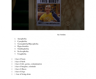 Fears and Phobias Worksheet
