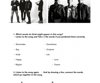 Song Worksheet: Closer to the Edge by 30 Seconds to Mars