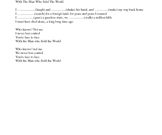 Song Worksheet: The Man Who Sold the World by Nirvana