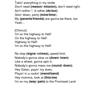 Song Worksheet: Highway to Hell by AC/DC