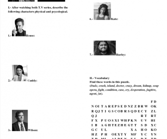 House and Lost T.V Series Worksheet