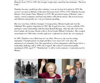 Movie Worksheet: The Iron Lady