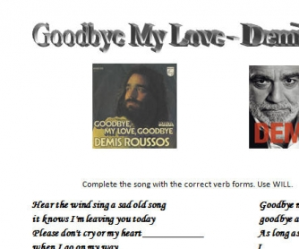 Song Worksheet: Goodbye My Love by Demis Roussos [Alternative]