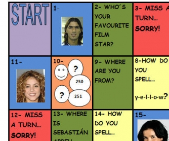 Simple Board Game (TO BE, spelling, WH-questions, etc)