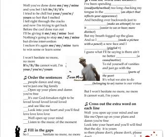 Song Worksheet: I'm Yours by Jason Mraz [Alternative 2]