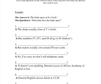 Revision of Question Forms