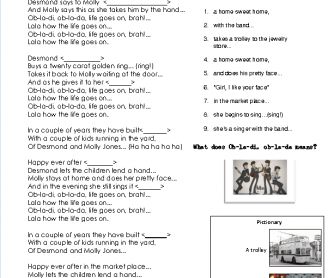 Song Worksheet: Obla-di Obla-da by The Beatles