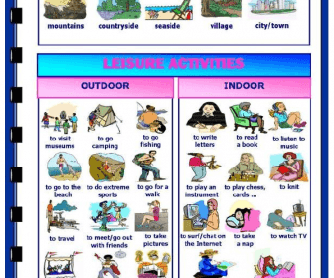 Holidays and leisure activities worksheet for Outdoor christmas activities for adults