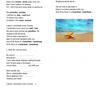 Song Worksheet: Summer Paradise by Simple Plan