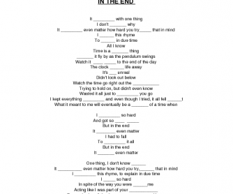 Song Worksheet: In The End by Linkin Park