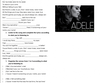 Simple Past Song Worksheet: Set Fire to the Rain by Adele