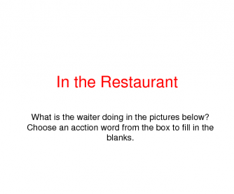 In the Restaurant: Exercise with Some Verbs