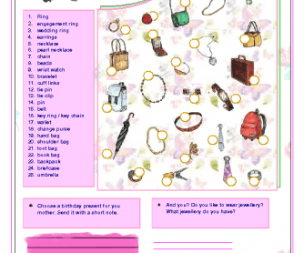 Jewerelly and Accessories Worksheet