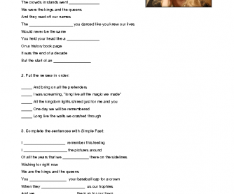 Song Worksheet: Long Live by Taylor Swift