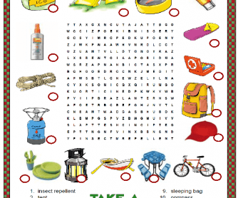 Camping Wordsearch Puzzle
