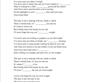 Song Worksheet: Lady in Red by Chris de Bourgh