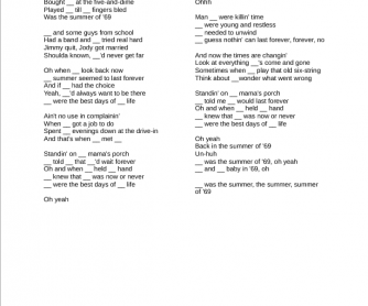 Song Worksheet: Summer of '69 by Bryan Adams