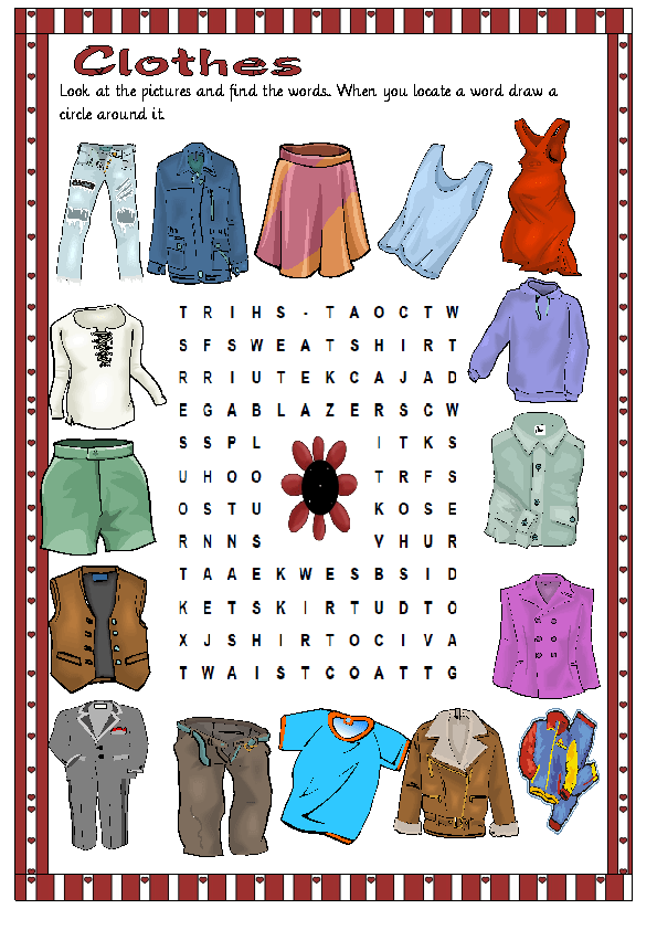 Clothes Wordsearch Puzzle