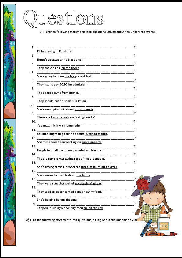 This is a worksheet for teaching or revising wh- questions words.