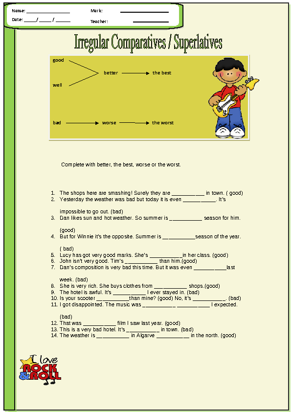 Irregular Comparatives and Superlatives Worksheet