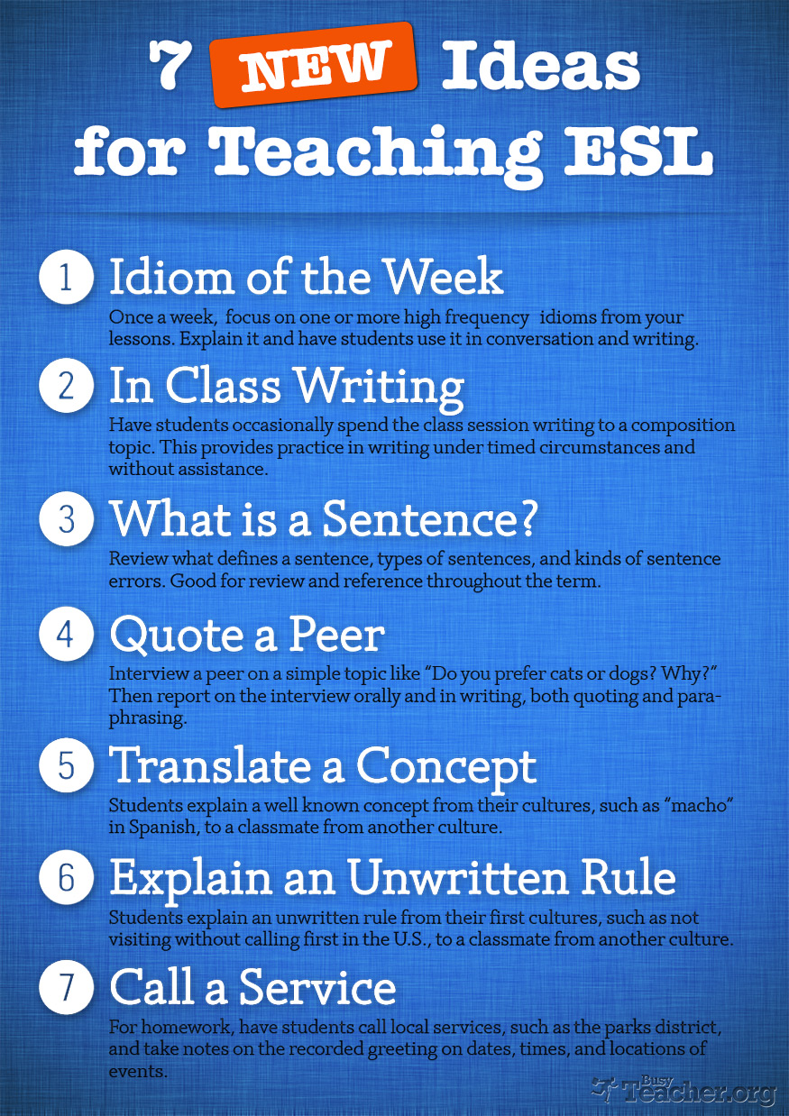POSTER: 7 NEW Ideas For Teaching ESL