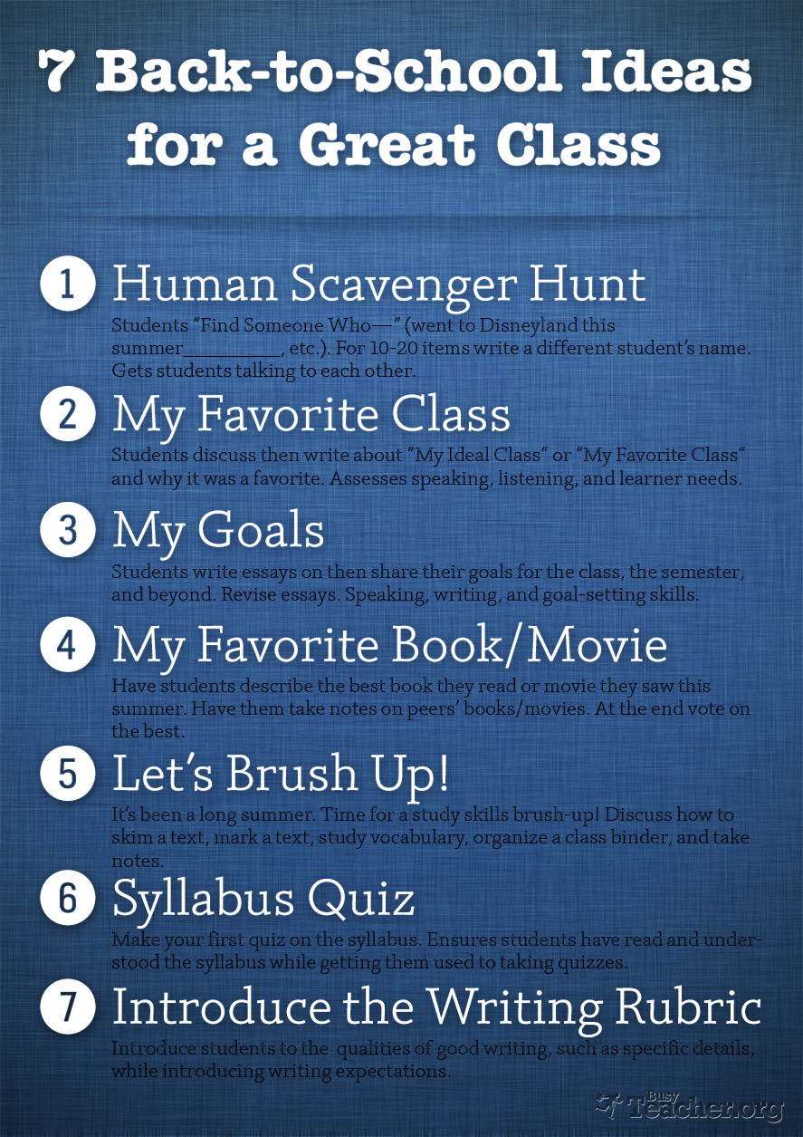 7 Back-to-School Ideas for a Great Class: Poster