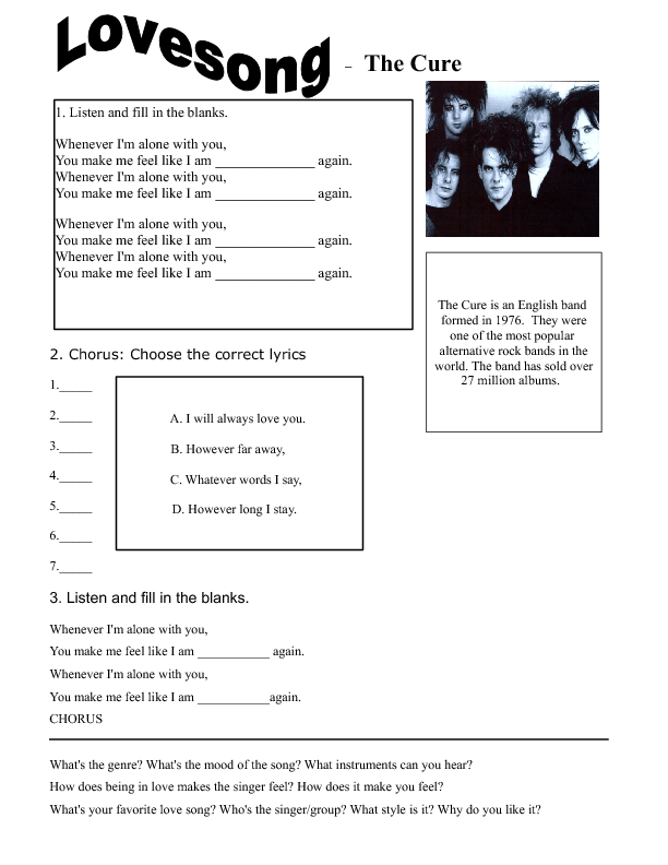 Lyric lyrics to i will always love you by the cure : Worksheet: Love Song by The Cure