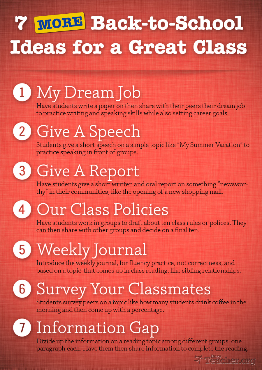 7 MORE Back-to-School Ideas for a Great Class: Poster