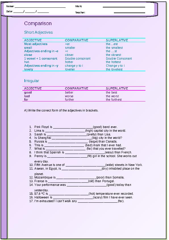 Comparison Short Adjectives Worksheet