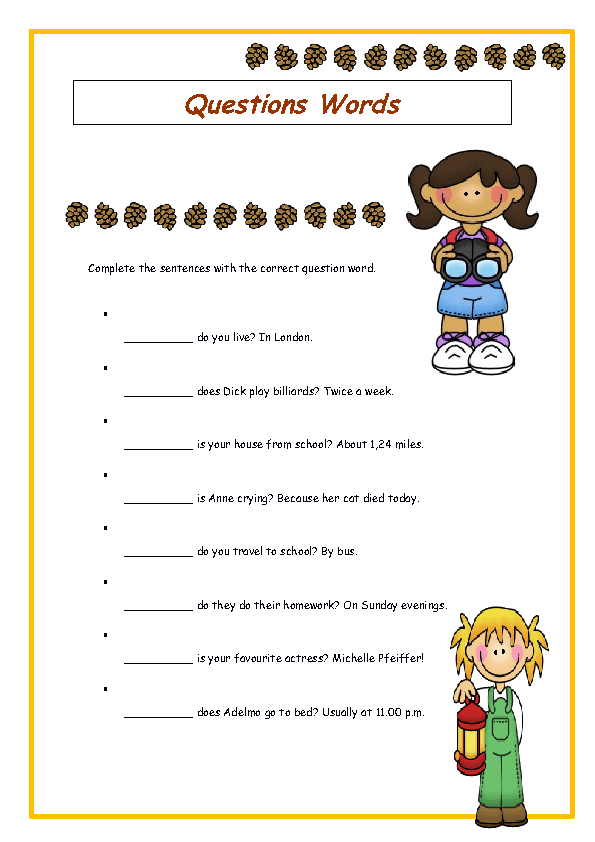 Number Line Worksheets simple wh questions worksheets : Question Words Elementary Worksheet