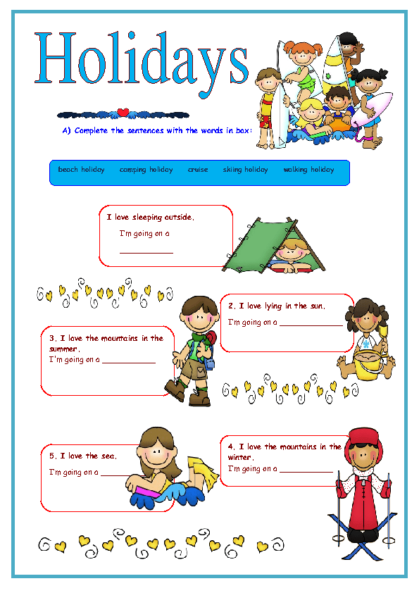 Holidays Elementary Worksheet
