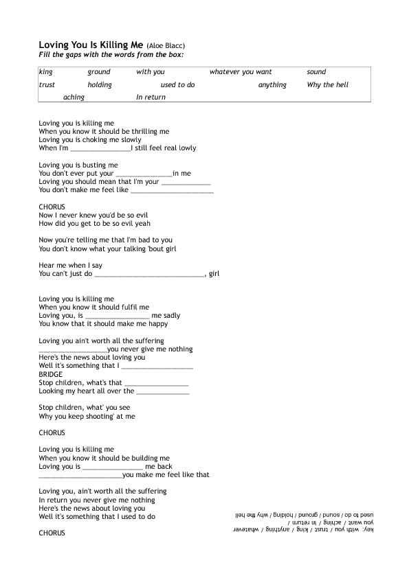 Worksheet Loving You By Aloe Blacc
