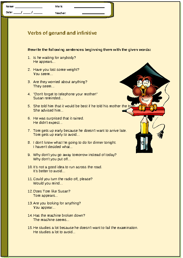 of Gerund and Infinitive Worksheet – Gerund Worksheet