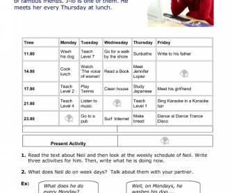 Jim's Weekly Schedule