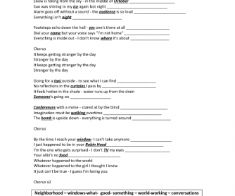 Song Worksheet: Stranger by the Day by Shades Apart