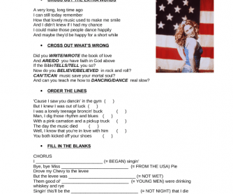 Song Worksheet: American Pie by Madonna