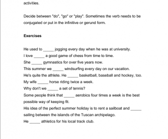 Sports Worksheet: Do/Play/Go